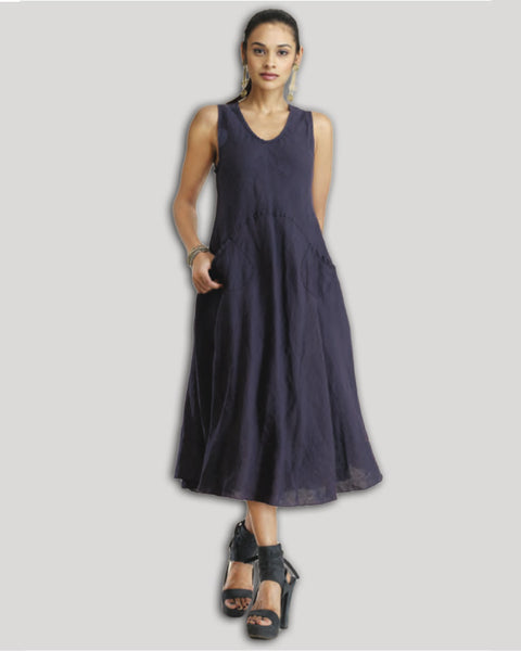 Long, Sleeveless, Linen Dress with Pockets