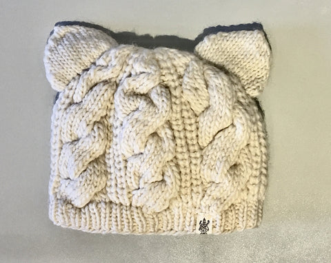 Cable Knit Kitty Hat For Adults