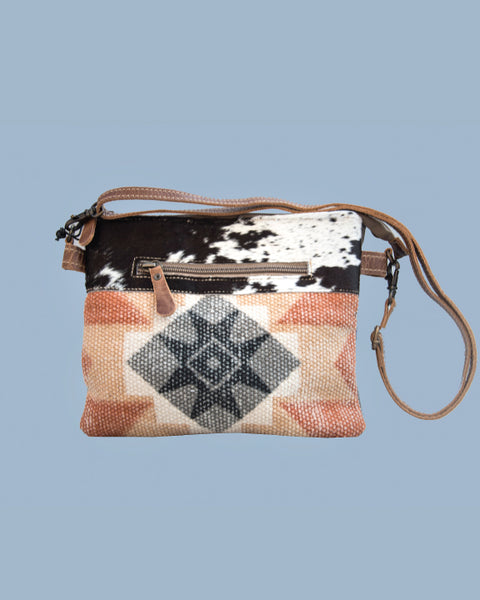 Cross-Body Canvas Bag with Cowhide Trim