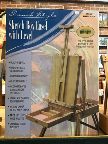 French Style Sketch Box Easel with Level