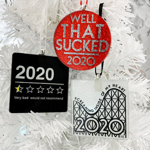 2020 Sucked Ornament trio - handmade lass and glitter ornaments by BBJ