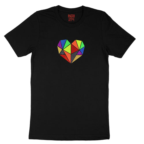 Vibrant rainbow faceted heart design with hand-applied neon, metallic and glitter vinyl on black unisex t-shirt - by BBJ / Glitter Garage