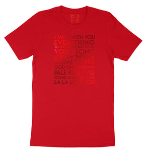 Fave love songs - metallic red text on red unisex t-shirt - Custom YourTen tee by BBJ / Glitter Garage