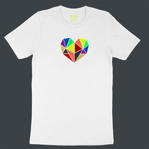 Vibrant rainbow faceted heart design with hand-applied neon, metallic and glitter vinyl on white unisex t-shirt - by BBJ / Glitter Garage