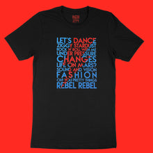 Load image into Gallery viewer, David Bowie song titles with lightning bolt icon red and blue glitter text on black unisex t-shirt - Customizable YourTen Custom David Bowie icon tee by BBJ / Glitter Garage