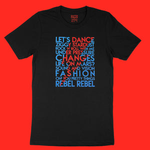 David Bowie song titles with lightning bolt icon red and blue glitter text on black unisex t-shirt - Customizable YourTen Custom David Bowie icon tee by BBJ / Glitter Garage