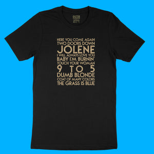 Dolly Parton songs - house -  gold glitter text on black unisex t-shirt - YourTen tee by BBJ / Glitter Garage