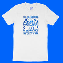Load image into Gallery viewer, Dolly Parton songs - house -  blue metallic text on white unisex t-shirt - YourTen tee by BBJ / Glitter Garage