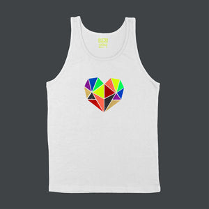 Vibrant rainbow faceted heart design with hand-applied neon, metallic and glitter vinyl on white unisex tank shirt - by BBJ / Glitter Garage
