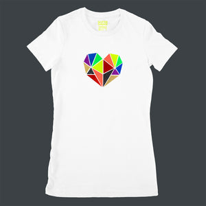 Vibrant rainbow faceted heart design with hand-applied neon, metallic and glitter vinyl on white ladies fit t-shirt - by BBJ / Glitter Garage