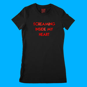Custom text tee - Screaming Inside My Heart - red metallic - USE YOUR WORDS black ladies fit t-shirt by BBJ / Glitter Garage