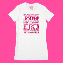 Load image into Gallery viewer, Dolly Parton songs - house -  hot pink glitter text on white ladies t-shirt - YourTen tee by BBJ / Glitter Garage