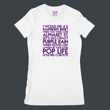 Load image into Gallery viewer, Prince songs - house -  purple glitter text on white ladies fit t-shirt - YourTen tee by BBJ / Glitter Garage