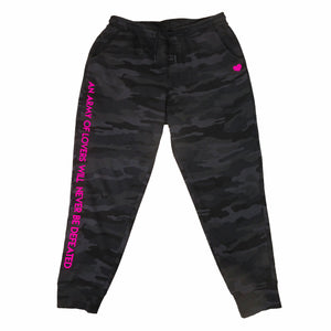An army of lovers will never be defeated - neon pink text on black camo print sweatpants by BBJ / Glitter Garage