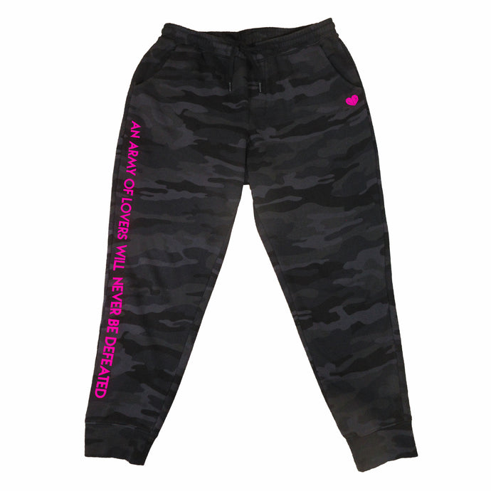 An army of lovers will never be defeated - neon pink text on black camo print unisex, ethically-made sweatpants by BBJ / Glitter Garage