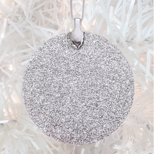 Load image into Gallery viewer, ornament back - silver glitter - metal bail and satin ribbon - Custom image glass and glitter handmade holiday ornament.