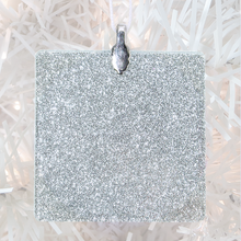 Load image into Gallery viewer, ornament back - silver glitter square - metal bail and satin ribbon - Custom image glass and glitter handmade holiday ornament.