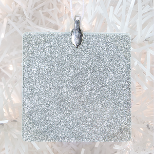 ornament back - silver glitter square - metal bail and satin ribbon - Custom image glass and glitter handmade holiday ornament.