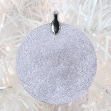 Load image into Gallery viewer, ornament back - white glitter - metal bail and satin ribbon - Custom image glass and glitter handmade holiday ornament.
