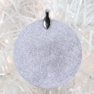 ornament back - white glitter - metal bail and satin ribbon - Custom image glass and glitter handmade holiday ornament.