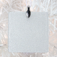 Load image into Gallery viewer, ornament back - white glitter square - metal bail and satin ribbon - Custom image glass and glitter handmade holiday ornament.