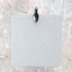 ornament back - white glitter square - metal bail and satin ribbon - Custom image glass and glitter handmade holiday ornament.