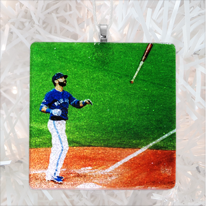 José Bautista Bat Flip Glass Ornament by BBJ