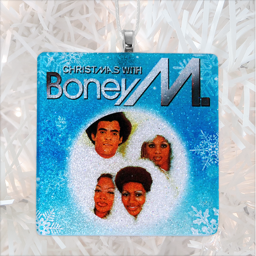Boney M Christmas Album Cover Glass Ornament by BBJ