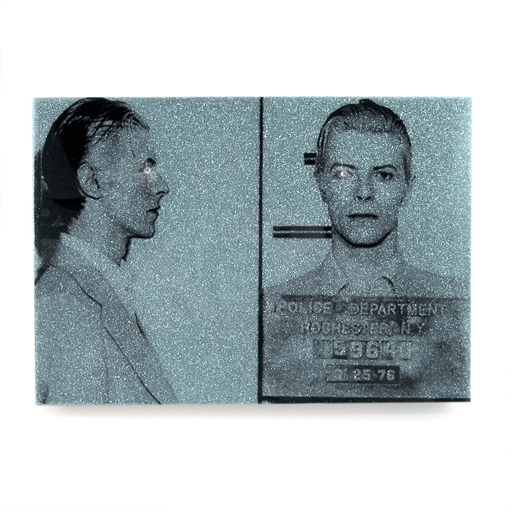 David Bowie mug shot wall art plaque