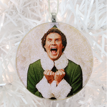 Load image into Gallery viewer, Buddy the Elf glass and glitter handmade Christmas ornament by BBJ