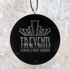 Load image into Gallery viewer, Trevents custom logo - silver glitter - Custom image glass and glitter handmade holiday ornament.