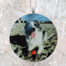 Load image into Gallery viewer, Good dog on a beach - white glitter - Custom image glass and glitter handmade holiday ornament.