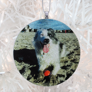 Good dog on a beach - white glitter - Custom image glass and glitter handmade holiday ornament.