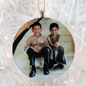 2 cute kids - white glitter - Custom image glass and glitter handmade holiday ornament.