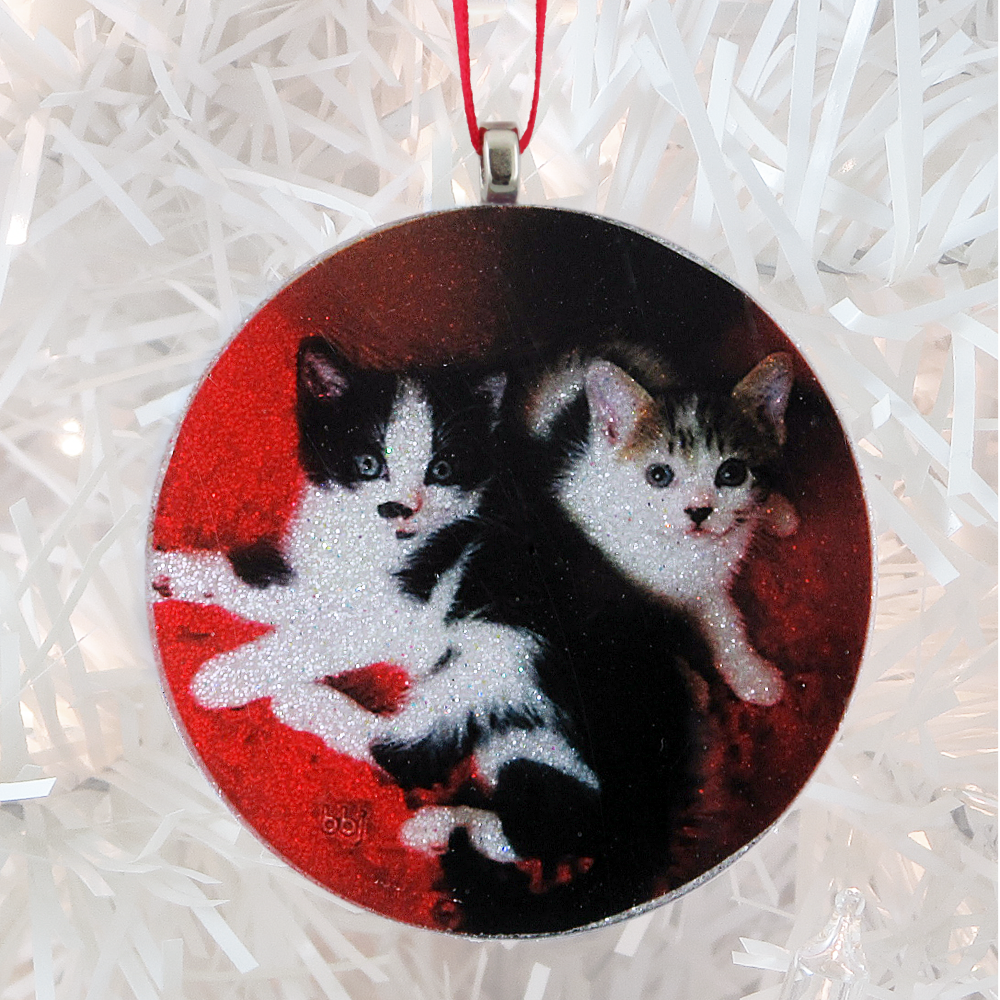 2 cute kittens - white glitter - Custom image glass and glitter handmade holiday ornament.