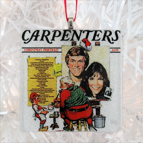 The Carpenters Christmas Portrait Album Cover Glass Ornament by BBJ