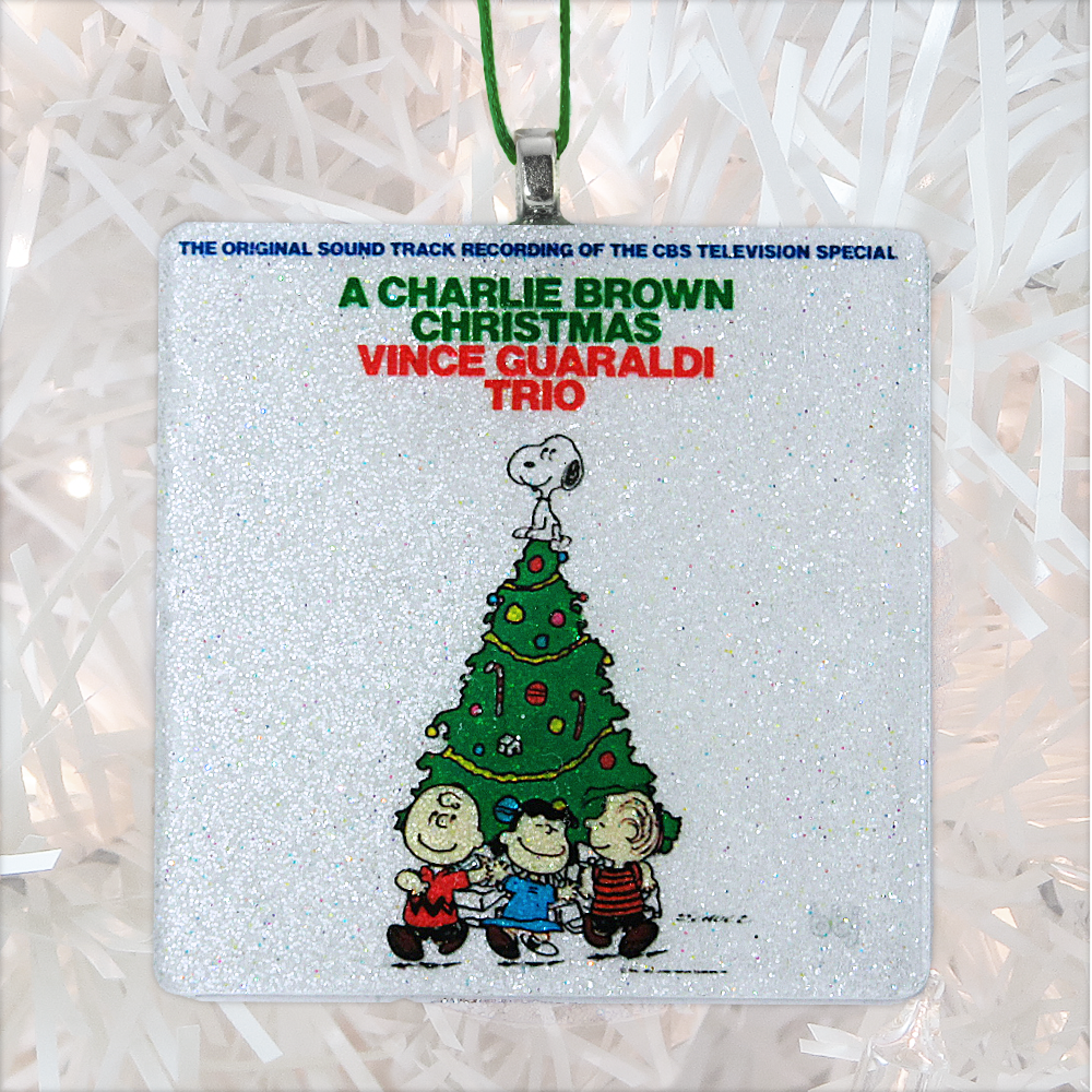 A Charlie Brown Christmas Album Cover Glass Ornament by BBJ