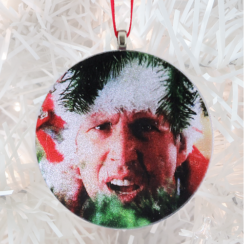 Christmas Vacation Clark Griswold glass and glitter handmade Christmas ornament by BBJ