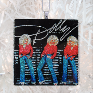 Dolly Parton Here You Come Again Custom Album Cover Glass Ornament by BBJ