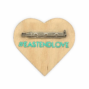 "#EastEndLove handmade pin 2"" heart shaped map of East End Toronto. Teal metallic vinyl + opalescent on wood - by BBJ in collaboration with East End Arts"