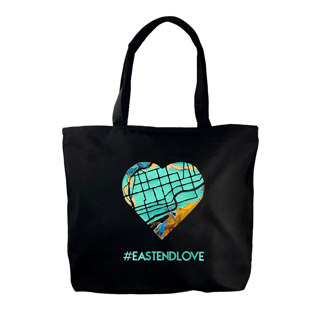 Deluxe zippered tote bag - black canvas with shiny map heart and #eastendlove in metallic teal and opalescent vinyl