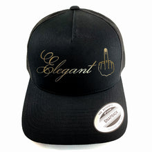 "Load image into Gallery viewer, Classic black snapback hat with ""Elegant"" and raised finger gold foil detail by BBJ / Glitter Garage. Unisex style, breathable mesh back with matching plastic snap closure fits most."