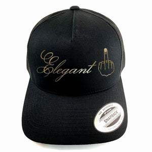 "Classic black snapback hat with ""Elegant"" and raised finger gold foil detail by BBJ / Glitter Garage. Unisex style, breathable mesh back with matching plastic snap closure fits most."