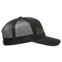 "Load image into Gallery viewer, Classic black snapback hat with ""Elegant"" and raised finger gold foil detail by BBJ / Glitter Garage. Unisex style, breathable mesh back with matching plastic snap closure fits most. Side view."