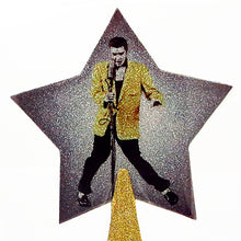 Load image into Gallery viewer, Elvis Presley Christmas tree topper star with gold glitter by BBJ - detail