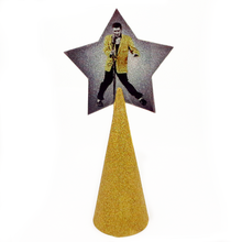 Load image into Gallery viewer, Elvis Presley Christmas tree topper star with gold glitter by BBJ