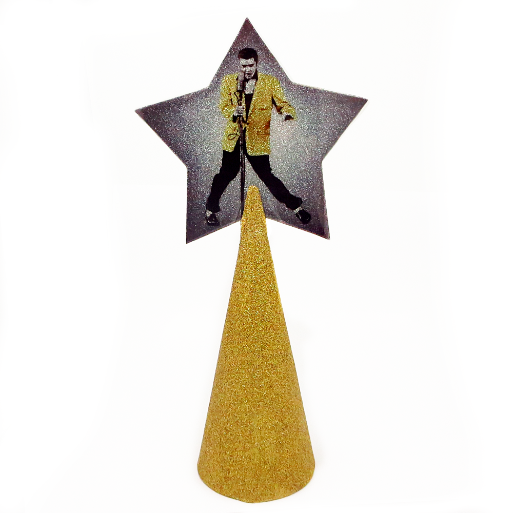 Elvis Presley Christmas tree topper star with gold glitter by BBJ