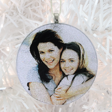 Load image into Gallery viewer, Gilmore Girls - white glitter  - Custom image glass and glitter handmade holiday ornament.