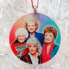Load image into Gallery viewer, Golden Girls glass and glitter handmade Christmas ornament by BBJ
