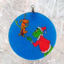 Load image into Gallery viewer, The Grinch glass and glitter handmade Christmas ornament by BBJ